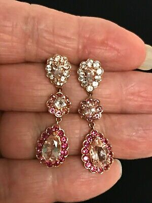 Gorgeous 14K Rose Gold Morganite & Pink Tourmaline Cluster Dangle -