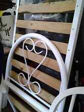 White metal girls single bed frame with wooden slats complete Normanhurst Hornsby Area Preview