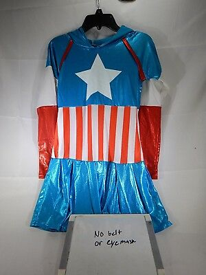 American Dream Hooded Marvel Superhero Fancy Dress Up Halloween Size Large T2