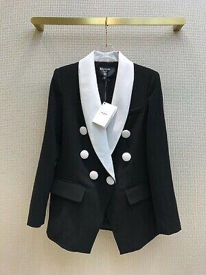 Balmain Black White Blazer Jacket Top 38 S