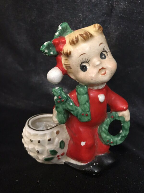 Vintage NOEL Girl Only N O Christmas CANDLE HOLDERS COMMODORE Japan W/ Sticker