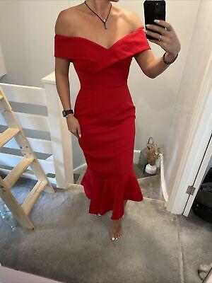 Off The Shoulder Red Fishtail Lavish Alice Dress Size 10