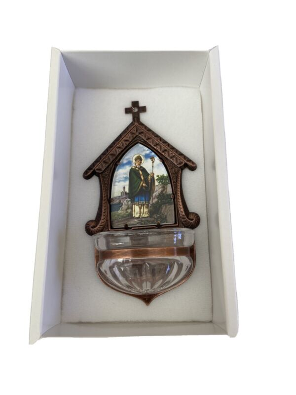 Holy water font-Saint Patrick-glass,antique copper frame 3in x 2in.