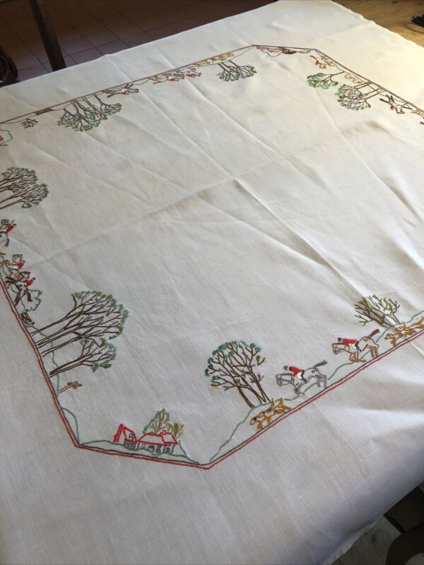 Vintage Linen Hand Embroidered Square Tablecloth Hunting Scene