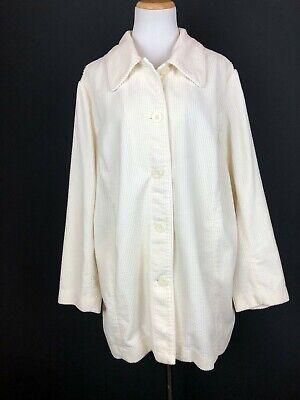 J. Jill Cream Button-Front Corduroy Jacket Wide Wale Cotton Plus Size 2X