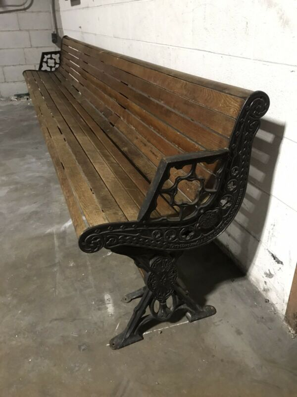 Antique Cast Iron Bench Reversible Railroad Train Or Trolley 10' -JA Bancroft-