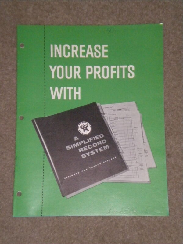 "RARE ORIGINAL 1961 TEXACO DEALER SALES BROCHURE ""INCREASE YOUR PROFITS"" 15-PGS"
