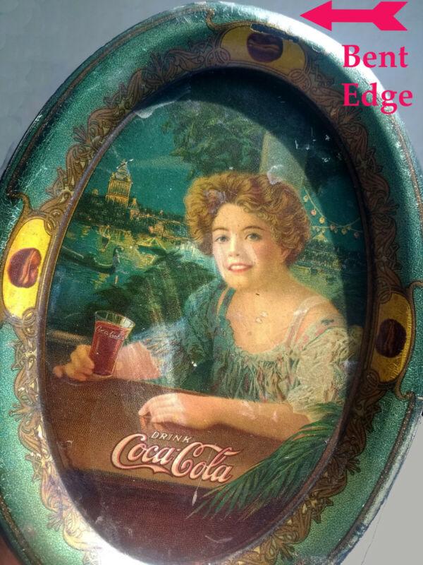 Original Coca Cola Exhibition Girl Change Tray Antique Tip Tray Tin Lithographed