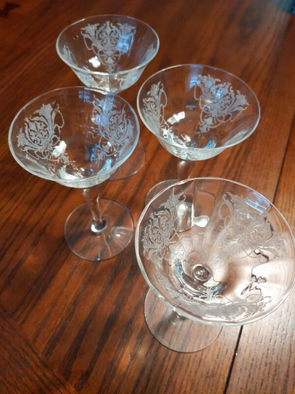 """Set of 4 Fostoria Glass Etch Antique Champagne / Sherbet Goblet 5 5/8"""" tall"""