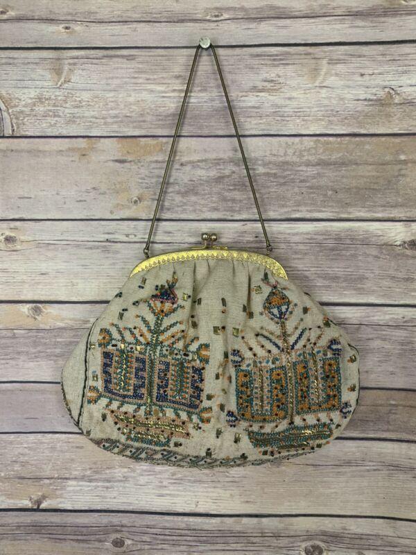 Vintage Beaded Handbag Snap Closure Metal Strap Gold Tone Hardware Boho