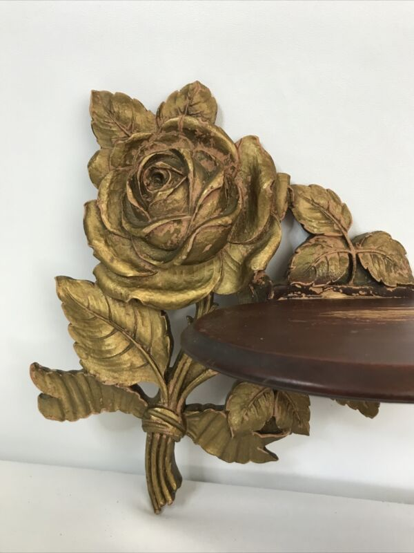 Antique Carved Wood Rose Shelf