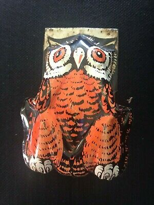 Vintage Halloween Tin Litho Owl Clicker Noise Maker Metal Toys USA