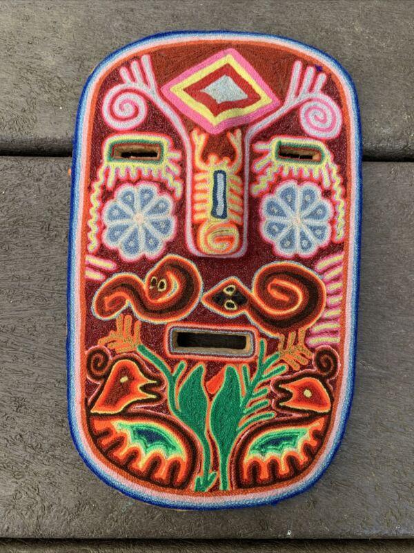 RESERVED Vintage Huichol Yarn Painting Mask Wood Folk Art Mexico Signed