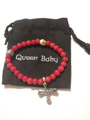 King/Queen Baby Studio 6mm Red Coral Bead Bracelet w/Shell Skull, Silver Cross Beaded Shell Cross