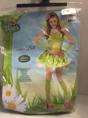 Disney Fairies Tinker Bell Ladies Halloween Fantasy Costume Junior Sz M 7-9 New