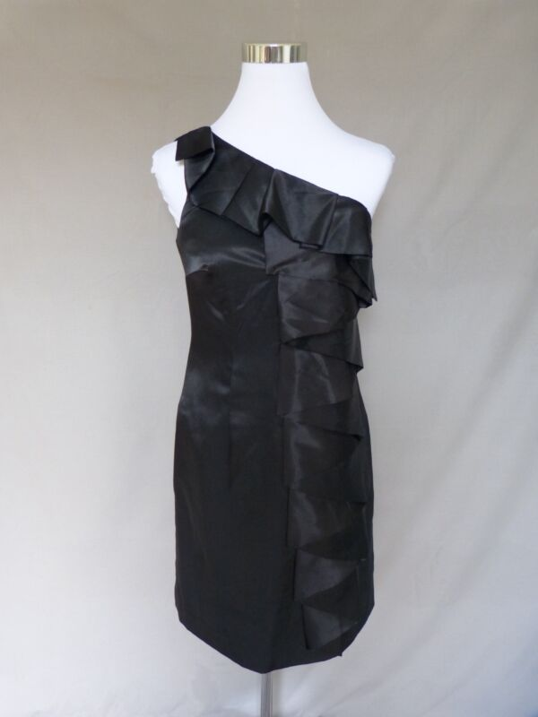 Calvin Klein Black One Shoulder Ruffle Knee Length Cocktail Holiday Dress Size 4