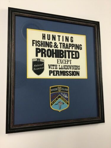 Rhode Island Fish & Wildlife Patch With Land Use Sign Framed