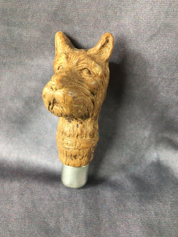 VINTAGE Wood Carved SCOTTIE DOG Head ANTIQUE Cane Walking Stick Umbrella HANDLE
