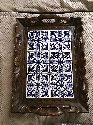 Beautiful Amazing Vintage Mexican Cobalt Blue Tile And Hand Carved Wood Tray