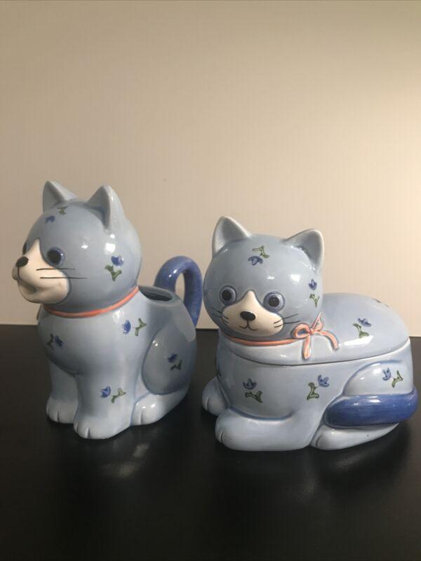 Vintage Otagiri Japan Whimsical CAT Ceramic Sugar & Creamer Blue Floral