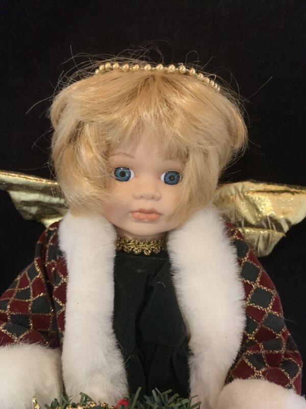 "Modern Porcelain Geppeddo Barefoot Christmas Wreath Blonde Angel Wings Doll 12"""
