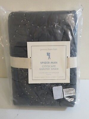 POTTERY BARN KIDS GRAY SPIDERMAN SPIDER MAN CITYSCAPE QUILTED PILLOW SHAM EURO