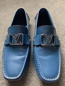 Louis Vuitton Blue Leather Loafers