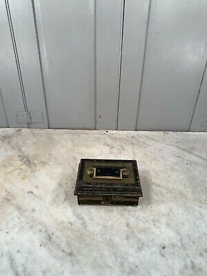 Antique small Toleware cash tin or moneybox