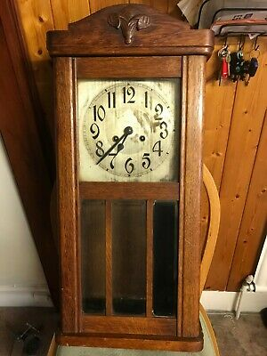 Old Wooden cased Wall Clock for spares or Repair