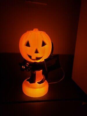 Blow Mold Light Halloween Black Cat Pumpkin w tag