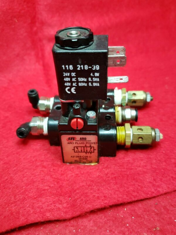 ARO INGERSOLL RAND SOLENOID AIR CONTROL VALVE. MODEL A213SS-O24-D. U.S.A. MADE