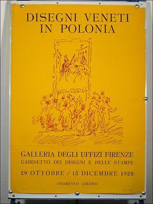 "Ausstellungs Plakat ""DISEGNI VENETI IN POLONIA"" Florenz 50er Jahre Kunst Poster"