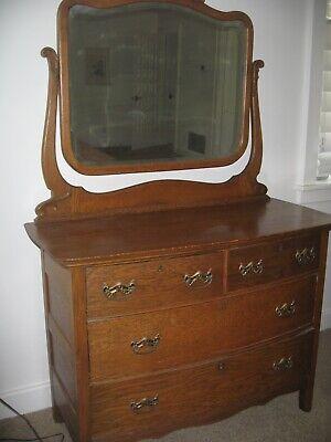 Antique mirrored golden oak dresser, beautiful carving around mirror, great cond