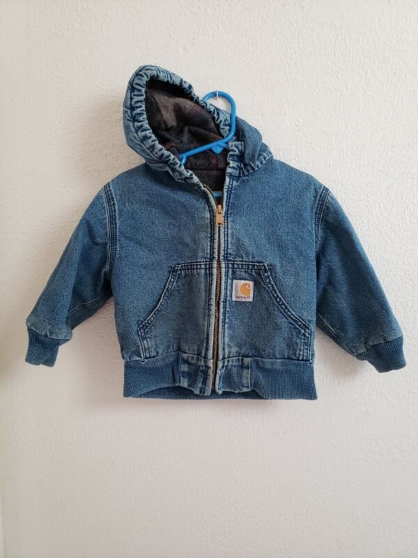 CARHARTT Hooded Denim Jacket Boys Size 2T Toddler Flannel Lined Coat Distressed