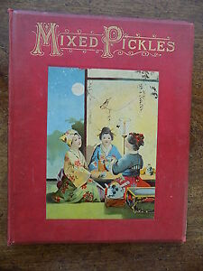 c1900 Victorian Childrens Book Mixed Pickles ABC Alphabet Military Cartoons Old