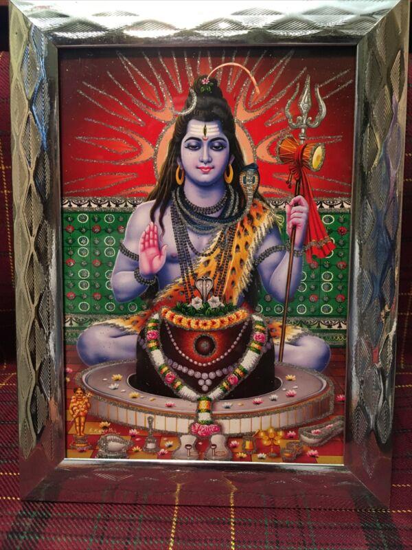 Framed Lord Shiva 5x7 Glitter Photo Poster Painting Hindu