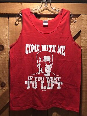 Come with Me If You Want To Lift Arnold Schwarzenegger Gym Tank Top Red Sz M