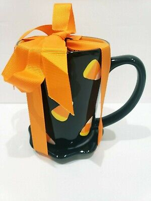 Signature Halloween Black Candy Corn Coffee Mug + Saucer -
