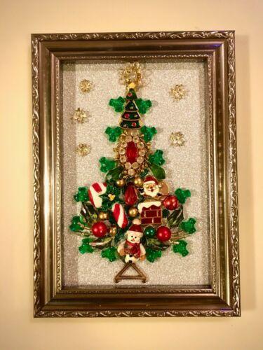 CHRISTMAS TREE FRAMED JEWELRY HOLIDAYS ART DECOR