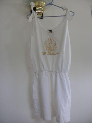 St. Maarten St. Martin Gold Seashell White Sun Dress Large (NWT) R$45