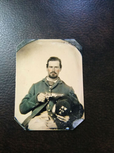 Civil War Soldier with pistol in Hand  tintype C518RP