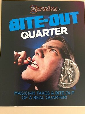 Bite Out Quarter Magic Coin Trick -  Blaine - Precision Made - Easy to Do!  - Magic Coin Tricks