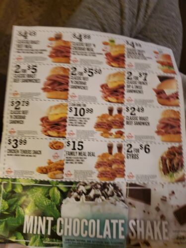 Arbys Coupons Exp 3/31/21. No Shipping Cost . 15 Dollar Value. 15 Coupons - $1.80