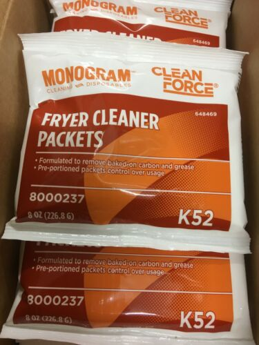 Lot of 2 Cases Monogram Clean Force Fryer Cleaner Packets 8oz. Each