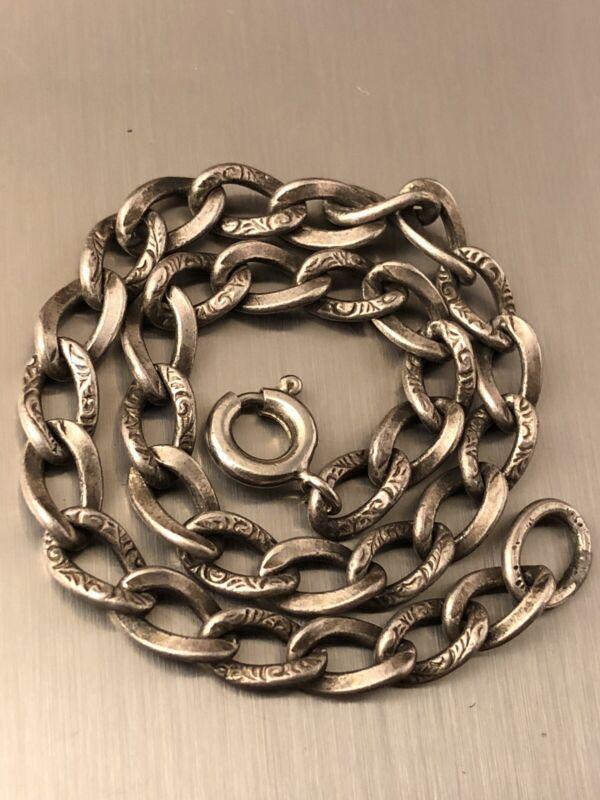 "Vintage sterling silver etched chain 7.5"" charm bracelet JL 052320cB"