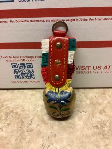 "Vintage Miniature Swiss Souvenir Goat Cow Bell Brass Leather Flower Red Green 4"""