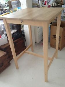IKEA tall bar table. Pale birch wood. As new. Indooroopilly Brisbane South West Preview