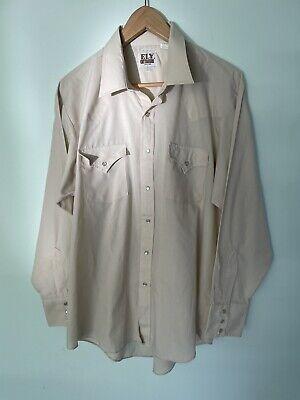 1970s Men's Shirt Styles – Vintage 70s Shirts for Guys ELY CATTLEMAN vintage mens pearl snap stud beige long sleeve western shirt 34 $36.27 AT vintagedancer.com