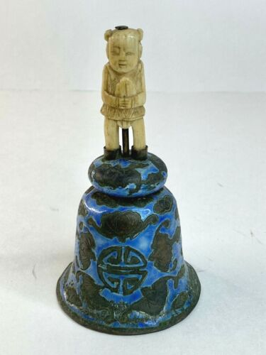 Antique Chinese Export Enamel Bell Asian Hand Carved Immortal Handle 1900 Bats