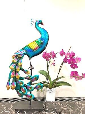 79cm Hand made and Painted Colourful Metal Peacock Sitting on stand Gift